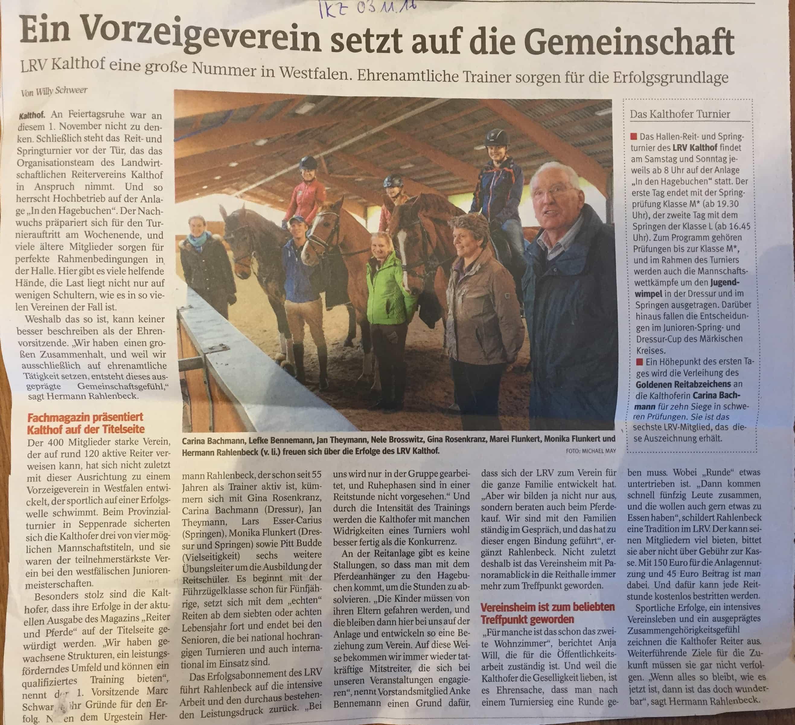 Bericht IKZ 03.11.2016 Unser Verein
