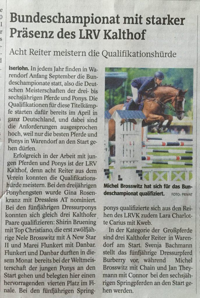Bericht IKZ 27.08.2016 Bundeschampionat