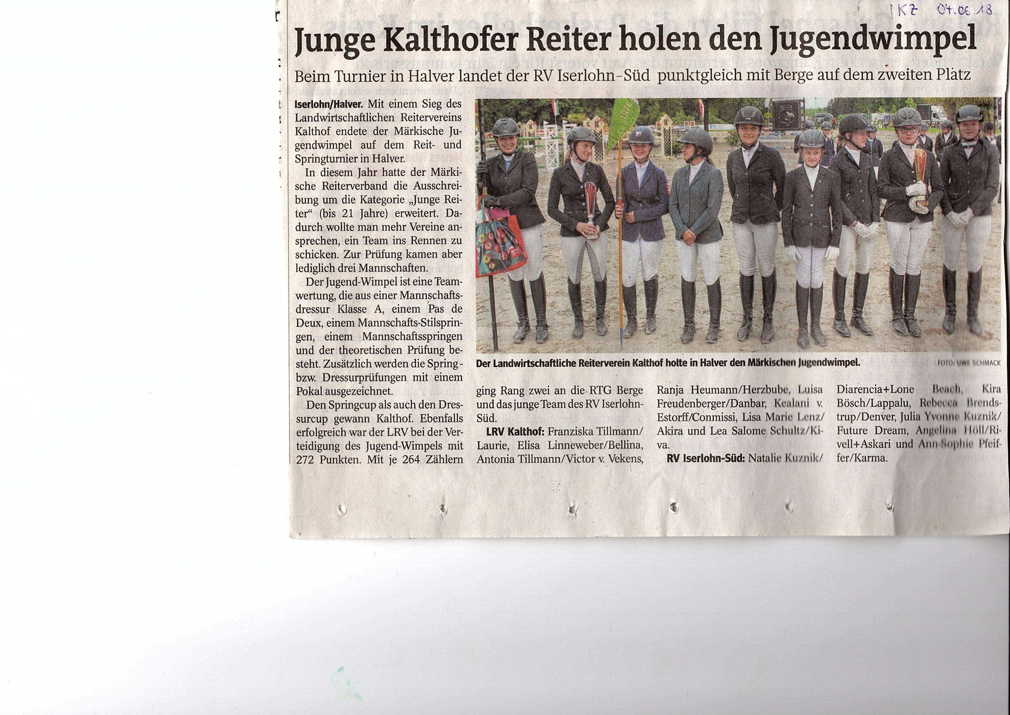IKZ 04.06.2018 Jugendwimpel für Kalthof