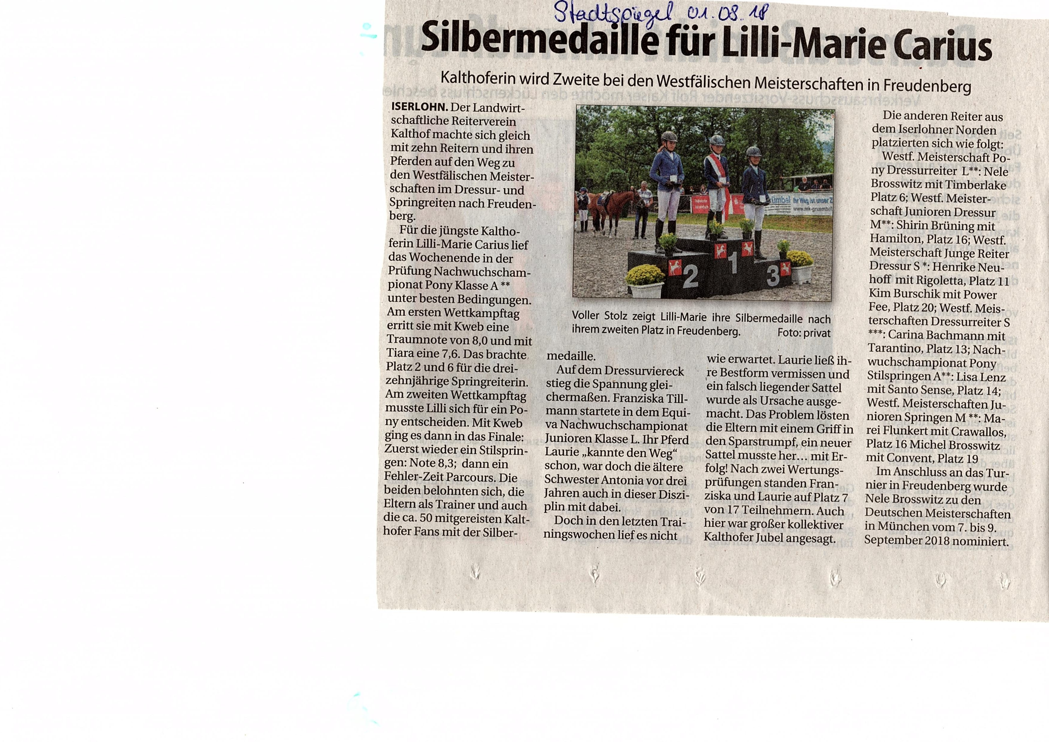 Stadtspiegel 01.08.2018 - Westfälische Meisterschaften
