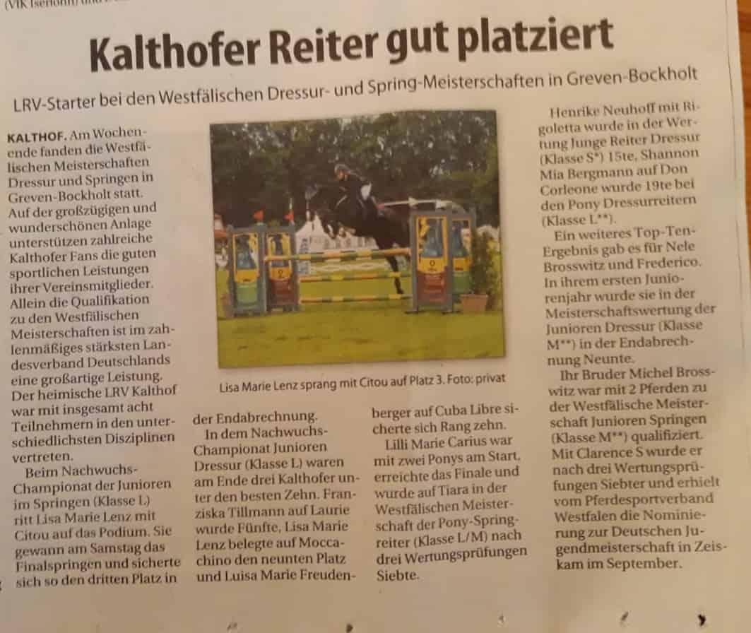 Stadtspiegel - 26.8.2019 - Westfälische Meisterschaften