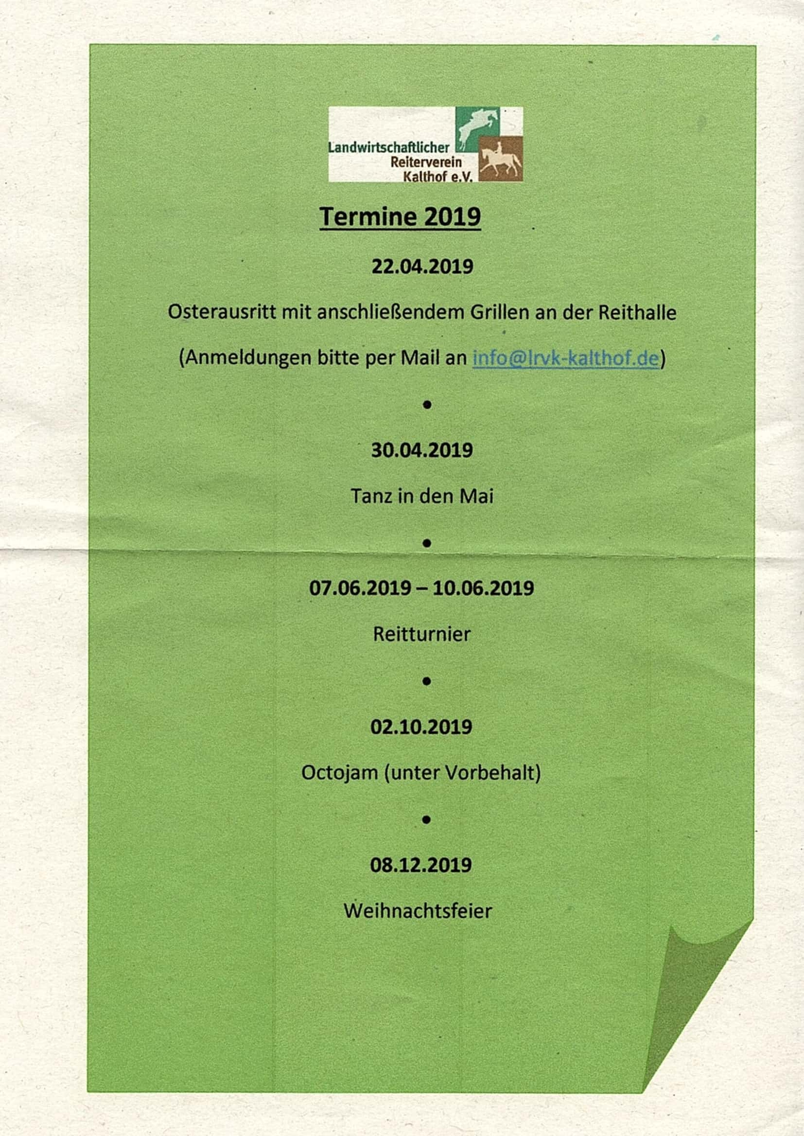 Termine Kalthof 2019